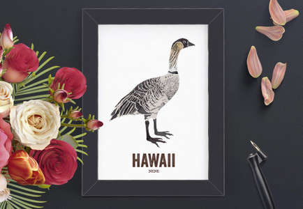 HAWAII Art, State Bird print, Map Art - NENE BIRD