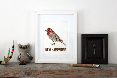 New Hampshire State Bird, Map prints - PURPLE FINCH