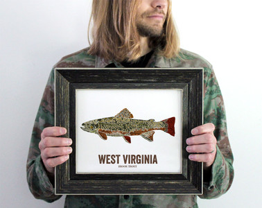 West Virginia State Fish, Map art - Brook Trout