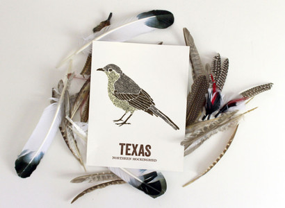 Texas State Bird, Map prints - Northern Mockingbird