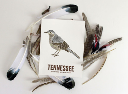 Tennessee State Bird, Map prints - NORTHERN MOCKINGBIRD