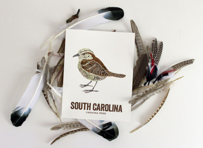 South Carolina State Bird- Map Prints - CAROLINA WREN