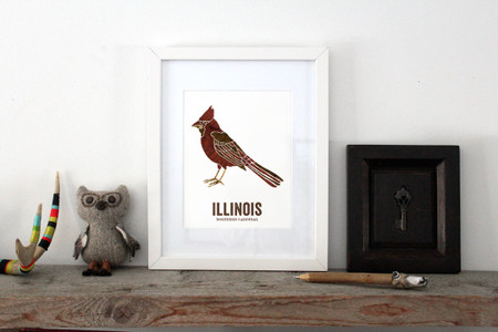 Illinois State Bird - Map art - Northern Cardinal