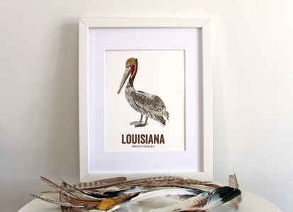 Louisiana State Bird Map Art- BROWN PELICAN