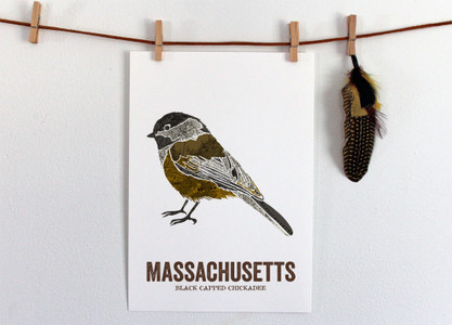 Massachusetts State Bird Map Art- BLACK CAPPED CHICKADEE