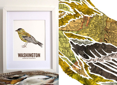 Washington State Bird Art - AMERICAN GOLDFINCH