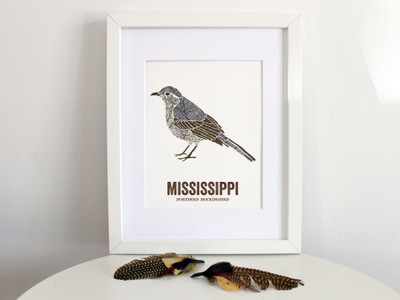 Mississippi State Bird, Map prints - NORTHERN MOCKINGBIRD