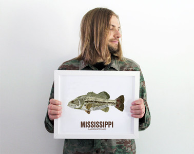 Mississippi State Fish, Map art- Largemouth Bass