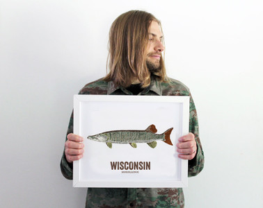 Wisconsin State Fish, Map art-MUSKELLUNGE