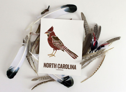 North Carolina State Bird, Map prints - Cardinal