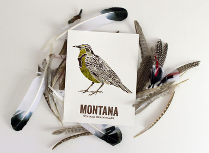 Montana State Bird, Map prints - WESTERN MEADOWLARK