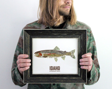 Idaho State Fish, Map art- Cutthroat Trout