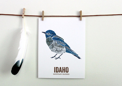 Idaho State Bird, Map prints - MOUNTAIN BLUEBIRD