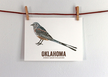 Oklahoma State Bird, Map art-Scissor-tailed Flycatcher