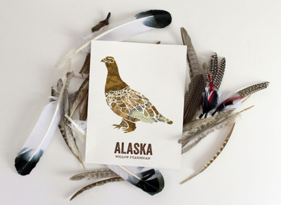 Alaska State Bird, Map prints - Willow Ptarmigan