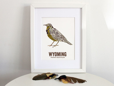Wyoming State Bird, Map prints - WESTERN MEADOWLARK