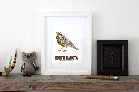 North Dakota Bird, Map prints - WESTERN MEADOWLARK