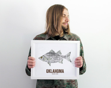 Oklahoma State Fish, Map art - White Bass