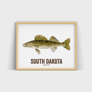 South Dakota State Fish, Map art - Walleye