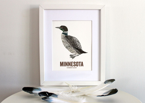 Minnesota State Bird Art, Map prints - Common Loon