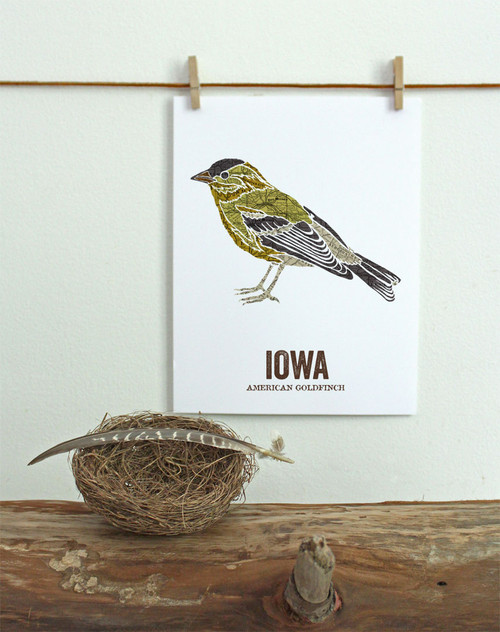 Iowa State Bird, Map prints - AMERICAN GOLDFINCH