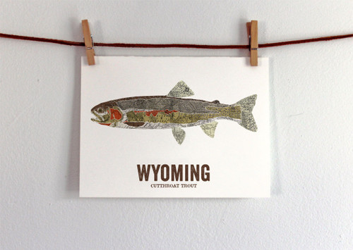 Wyoming State Fish, Map Art, Gift For Dad - Cutthroat Trout