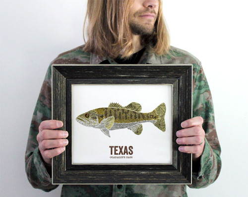 Texas State Fish, Map art, Gift For Him - Guadalupe Bass