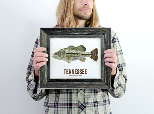 Tennessee State Fish, Map art - Largemouth Bass