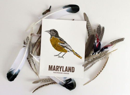 Maryland State Bird, Map prints - BALTIMORE ORIOLE