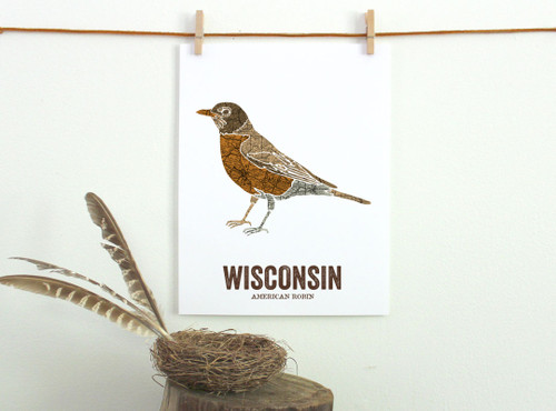 Wisconsin State Bird, Map prints - AMERICAN ROBIN