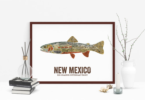 New Mexico State Fish, Map Art - Rio Grande Cutthroat Trout