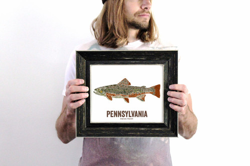 Pennsylvania State Fish, Map art - Brook Trout