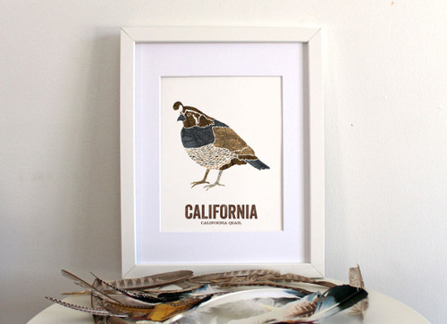 California State Bird, Map prints - California Quail