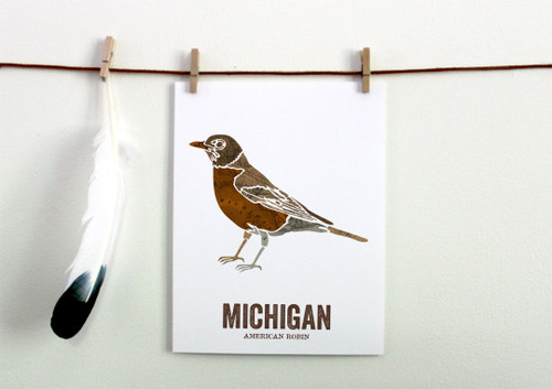 Michigan State Bird Art, Map prints - AMERICAN ROBIN