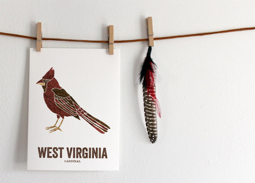 West Virginia State Bird, Map prints - Cardinal
