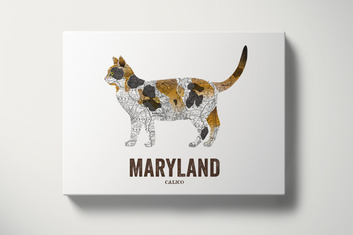 Maryland State Cat print, Map prints - Calico Cat
