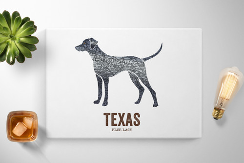 Texas State Dog print - The lacy dog - Blue Lacy