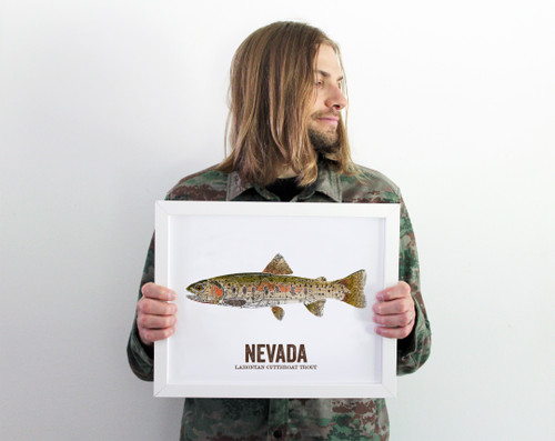 Nevada State Fish, Gift For Him - Lahontan Cutthroat Trout