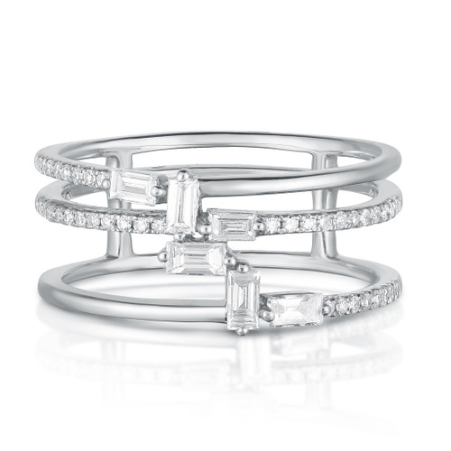 Baguette Waterfall Ring, 14k white gold,  0.37 carats, URBAETIS Fine Jewelry