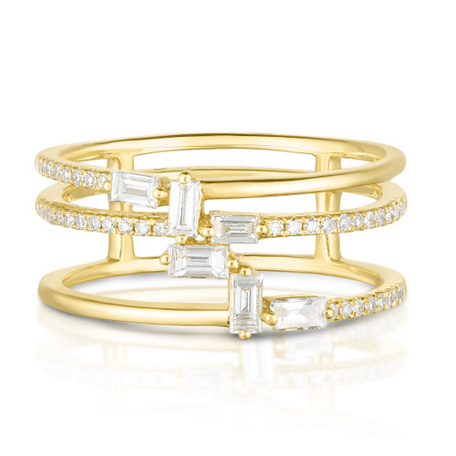 Baguette Waterfall Ring, 14k yellow gold,  0.37 carats, URBAETIS Fine Jewelry