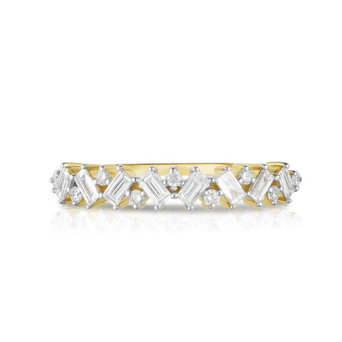 Baguette and Round Diamond Eternity Ring -with 17 diamonds totaling 0.37 carats. made with 14k gold.