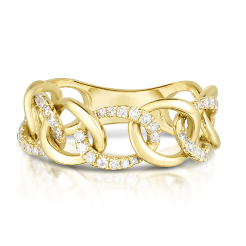 Gold and Diamond Chain Link Ring, 14k yellow gold,  0.28 carats, URBAETIS Fine Jewelry