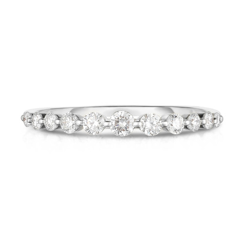 Graduated Diamond Single Prong 1/2 Eternity Ring, 14k white gold,  11 diamonds, 0.3 carats - URBAETIS Fine Jewelry