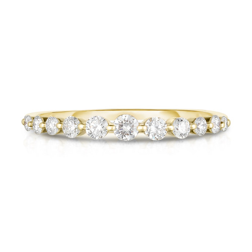 Graduated Diamond Single Prong 1/2 Eternity Ring, 14k yellow gold,  11 diamonds, 0.3 carats - URBAETIS Fine Jewelry