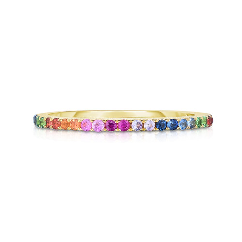 Rainbow Mixed Gemstone 1/2 Eternity Ring, 14k yellow gold- Urbaetis Fine Jewelry