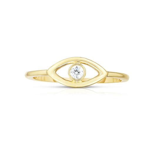 Single Diamond Evil Eye Ring,  14k yellow gold, 0.6 carats - Urbaetis Fine Jewelry