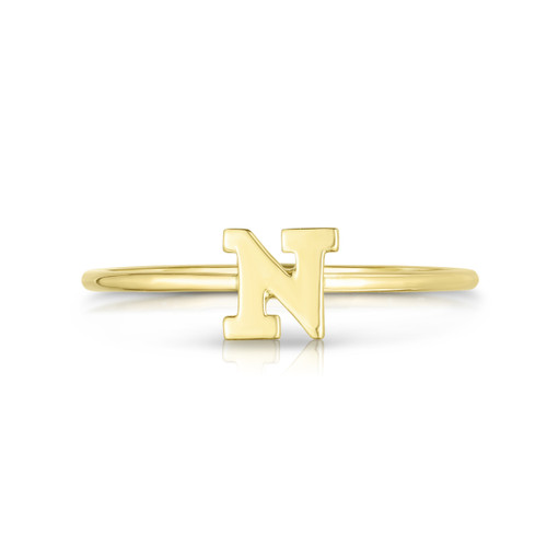 Block Letter Initial Ring - N Letter Initial Ring - Urbaetis Fine Jewelry