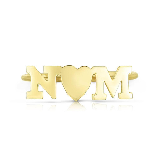 Letter Heart Letter Nameplate Ring, choose two initials for love letters ring, 14k yellow gold - Urbaetis Fine Jewelry
