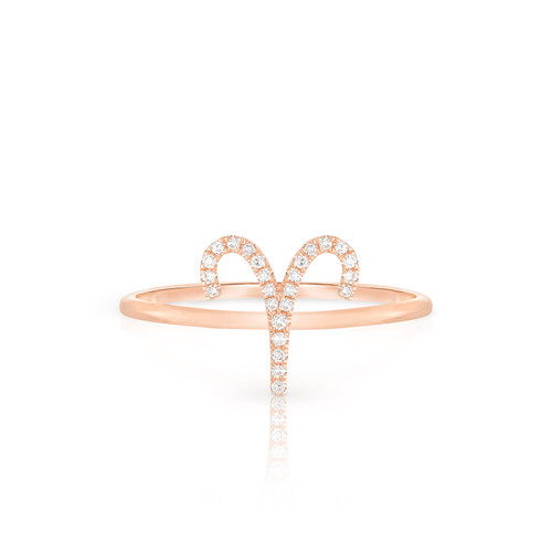 Diamond Aries Zodiac Ring, 14k rose gold - Urbaetis Fine Jewelry