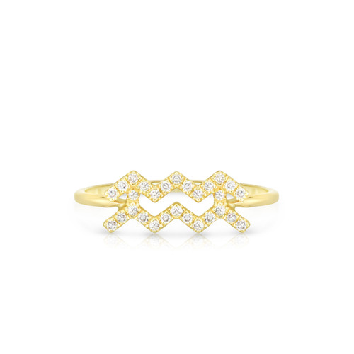 Diamond Aquarius Zodiac Ring, 14k yellow gold - Urbaetis Fine Jewelry